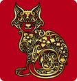 Golden cat ornament vector