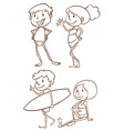 Simple sketches of the people going to the beach vector