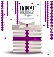 Birthday card with gift box in the style of flat vector