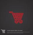 Shopping cart outline symbol red on dark vector