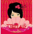 Attractive asian woman holding traditional fan vector