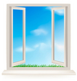 Open window with blue sky vector