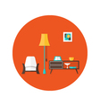 Living room flat circle icon over red vector