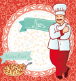 Menu chef with pizza red background with flowers vector
