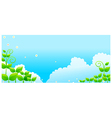 Blue sky with green leaves vector