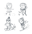 Winter sports sketch sportsmen vector