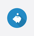 Moneybox piggy flat blue simple icon with long vector