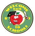 Welcome back to school circle and student apple vector