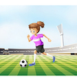 A young girl playing soccer at the field vector