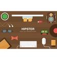 Hipster desk header vector