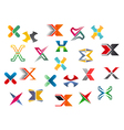 Letter x symbols and elements vector