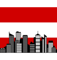 City and flag of austria vector