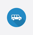School bus flat blue simple icon with long shadow vector