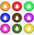 Christmas tree icon sign a set of nine different vector