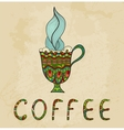 Artistic coffee cup with smoke doodle vector