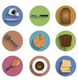 Flat food circle icon set eps10 vector