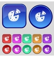 Pizza icon set colourful buttons sign vector