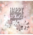 Birthday card with flowers on colorful background vector