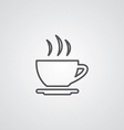 Cap of tea outline symbol dark on white background vector