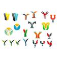 Letter y alphabet symbols vector