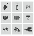 Black wine icons set vector