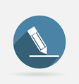 Silhouette writing pencil circle blue icon with vector