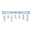Blue label with we can help vector