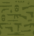 Army weapons seamless pattern vector
