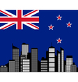 City and flag of new zealand vector