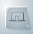 Glass square icon laptop with shopping cart vector
