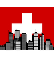 City and flag of switzerland vector