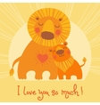Happy fathers day card cute lion and cub vector