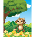 A monkey near the mountain vector