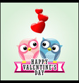 Cute romantic owls and hearts vector