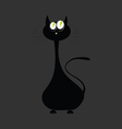 Cat black with big green eye vector