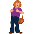 Cartoon fat woman in purple top with open mouth vector