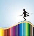 Boy balancing on a pencil vector