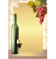 Ripe grapes wine glass and bottle wine vector