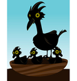 Bird in nest with chicks vector
