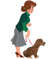 Cartoon woman in green striped sweater and dog on vector