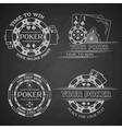 Set poker emblems on a dark background vector