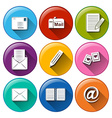 Icons with the different mailing tools vector