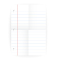 Notepad ruled blank page with folds vector