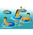 People enjoying a swimming pool vector