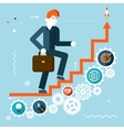Businessman goes success infographic stairs symbol vector