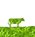 Cow silhouette graze in the field landscape grass vector