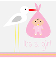 Baby shower card with stork its a girl vector