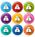Round icons with sacks of money vector