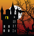 Castle in the twilight with bat vector