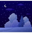 Landscape night winter forest vector